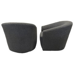 Pair of Swivel Chairs in Faux Sheepskin