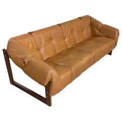 Percival Lafer Brazilian Rosewood Leather Sofa