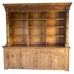 Ralph Lauren Bromley Solid Pine Bookcase Display Hutch with Cabinet