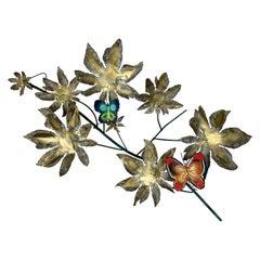 Curtis Jeré Steel & Brass Butterfly Branch Wall Sculpture for Artisan House 1966