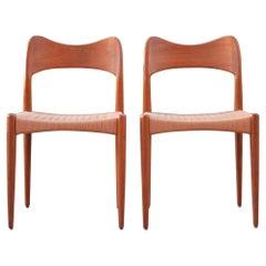 Arne Hovmand Olsen Teak Papercord Dining Chair for Mogens Kold Set of 2