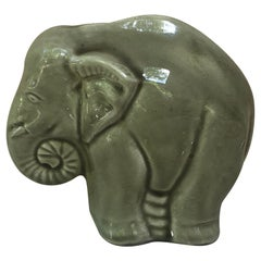 French Majolica Elephant Money Bank Saint Clement, Circa 1930