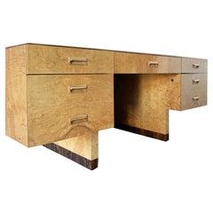 Henredon Burled Olive Wood Executive Desk