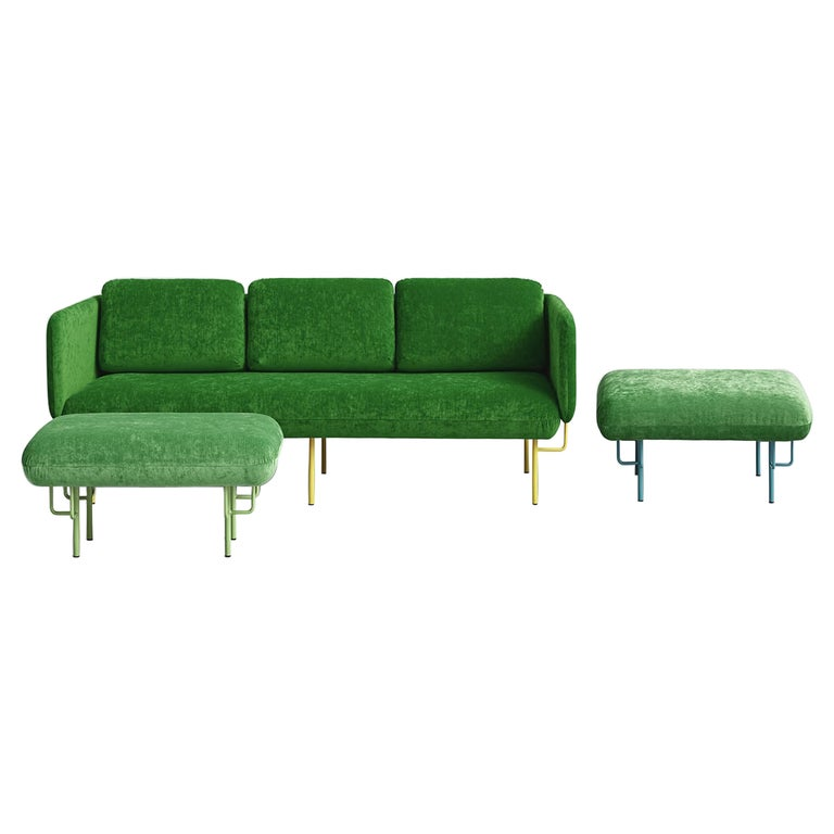 Set of Large Green Alce Sofa and 2 Large Ottomans by Chris Hardy For Sale