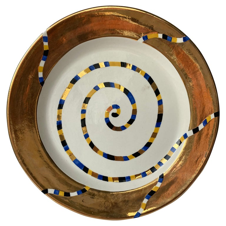 Ralph Bacerra Large Ceramic/Pottery Charger/Plate with Gold Glaze, Signed For Sale