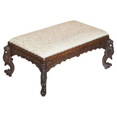 Fine circa 1880 Antique Victorian Anglo Indian Burmese Carved Footstool Ottoman