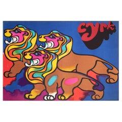 Cyrk Polish Circus Poster 3 Lions 1970, Jodlowski