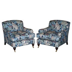 Pair of William Morris Forest Linen Upholstered Howard Style Armchairs