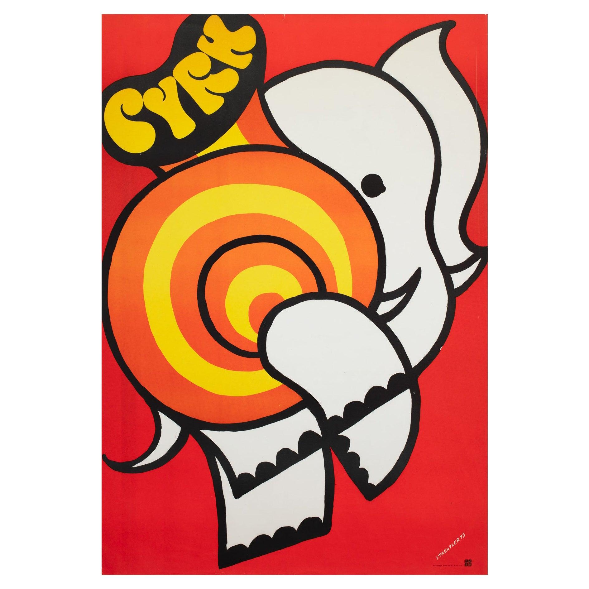Cyrk Elephant 1975 Polish Circus Poster, Treutler