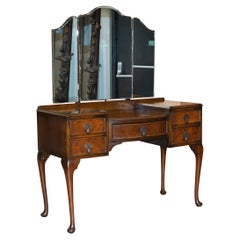 1930's Burr Walnut Maple & Co Dressing Table Trifold Mirrors Part of Large Suite