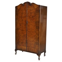 Very Large circa 1930's Maple & Co Burr Walnut Double Wardrobe Part of a Suite