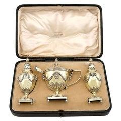 Antique Edwardian Sterling Silver Gilt Condiment Set, 1905