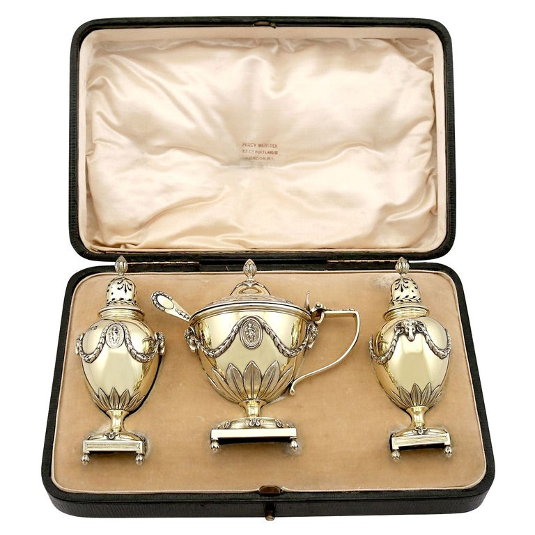 Antique Edwardian Sterling Silver Gilt Condiment Set, 1905 For Sale