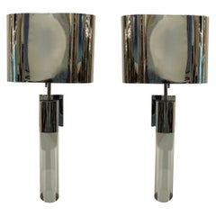 Fine Pair American Modern Polished Steel and Lucite Wall Lights, Karl Springer