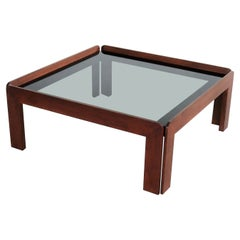 Italian Midcentury Square Coffee Table in Mahogany and Smoked Glass, 1960s