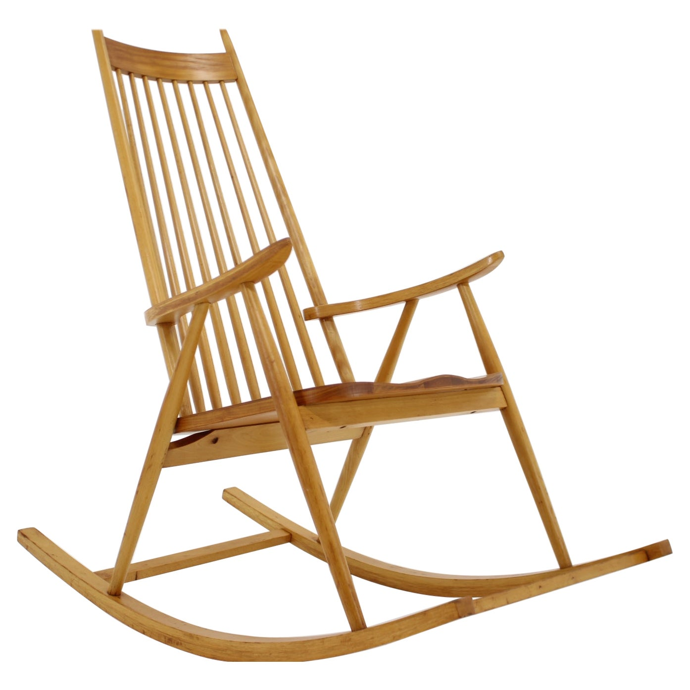 1960s Midcentury Wooden Rocking Chair, Czechoslovakia