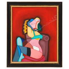 Smoking Lady Oil on Canvas Signed FT