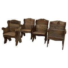 Set of 4 Swiss Oak Chairs, 1920
