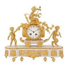 French 19th Century Louis XVI St. White Carrara Marble and Ormolu Clock