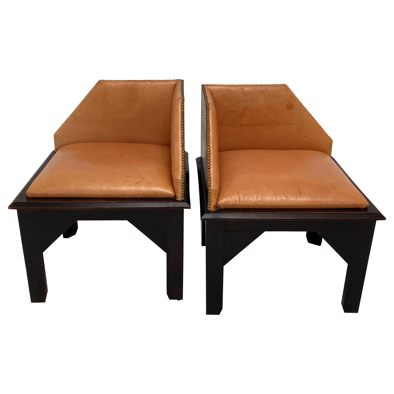 Pair of Art Deco Style Corner Chairs