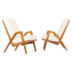 Midcentury Boucle Armchairs by Jan Vanek for ULUV, 1960s, Set of Two