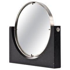 Angelo Mangiarotti Midcentury Marble and Steel Round Vanity Table Mirror, 1960s