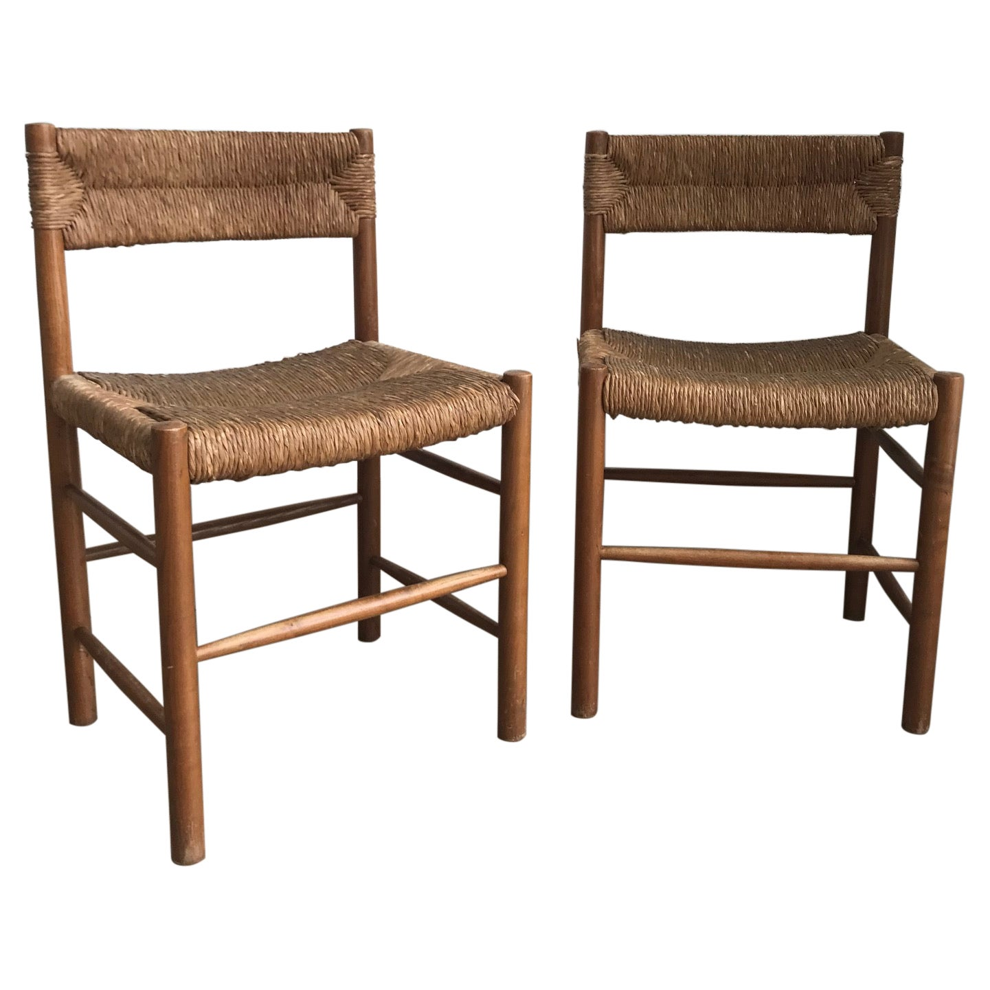 """Pair of """"Dordogne"""" Chairs by Charlotte Perriand for Sentou, 1950s"""