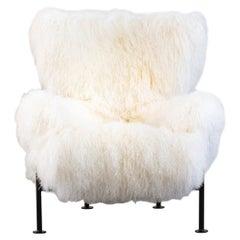 Franco Albini PL19 or Tre Pezzi Armchair in White Mongolian Fur for Poggi Pavia