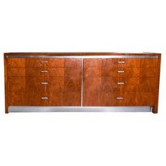 Mid Century Walnut Chrome Dresser Attributed to Jack Cartwright