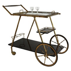 Italian 1950s Hollywood Regency Barcart Trolley Mahogany Faux Bamboo Brass Glass