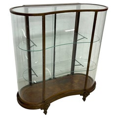 French Vitrine Curved Glass Cabinet Patinated Bronze Display Case 1920s Arte