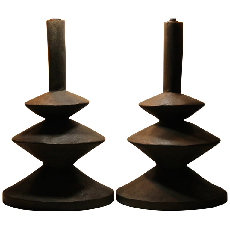 Pair Jaques Grange Sculptural Plaster Lamps After Giacometti For Sale