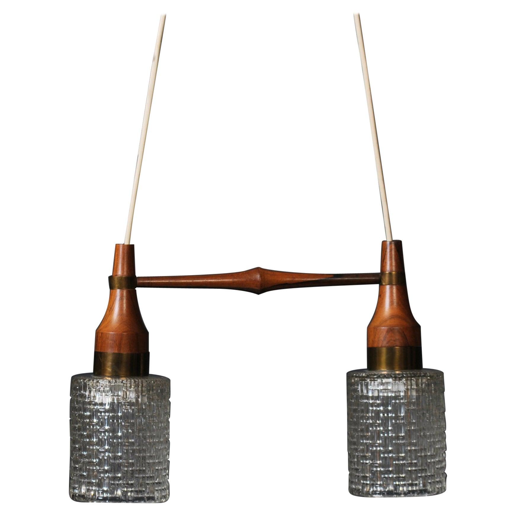Danish Midcentury Dual Pendant Light