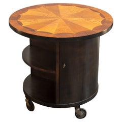 Round Coffee/Side Table with Rosewood, Burl, Jacaranda Inlay, Sweden, 1930s
