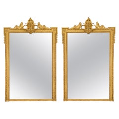 Pair of French Mid 19th Century Louis XVI St. Giltwood Mirrors