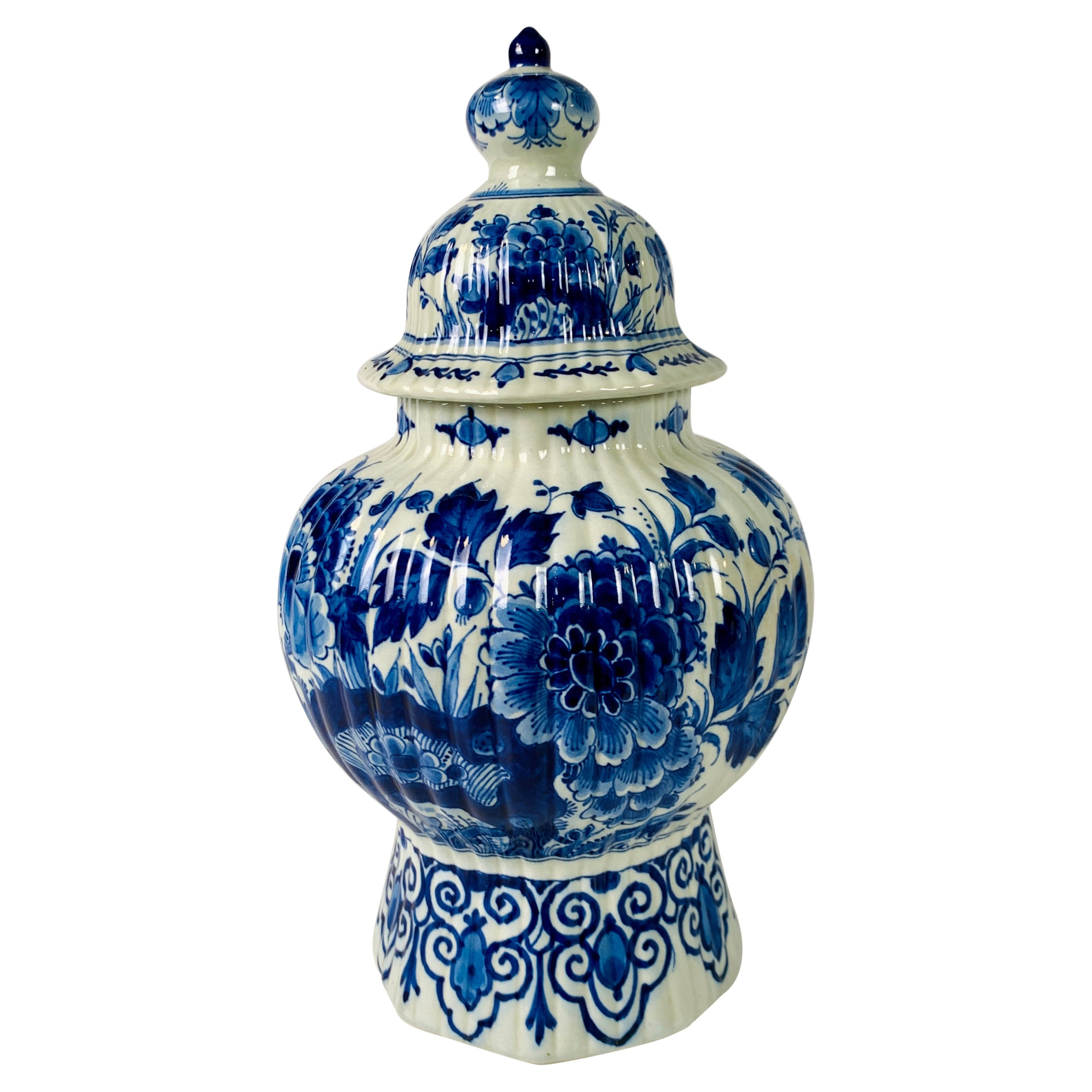 Blue and White Delft Jar Hand-Painted in The Netherlands Mid 20th Century