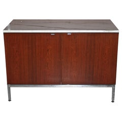Florence Knoll Two Bay White Marble and Teak Credenza