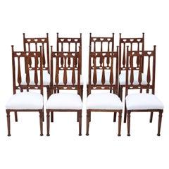 Antique Set of 8 Mahogany Art Nouveau Dining Chairs