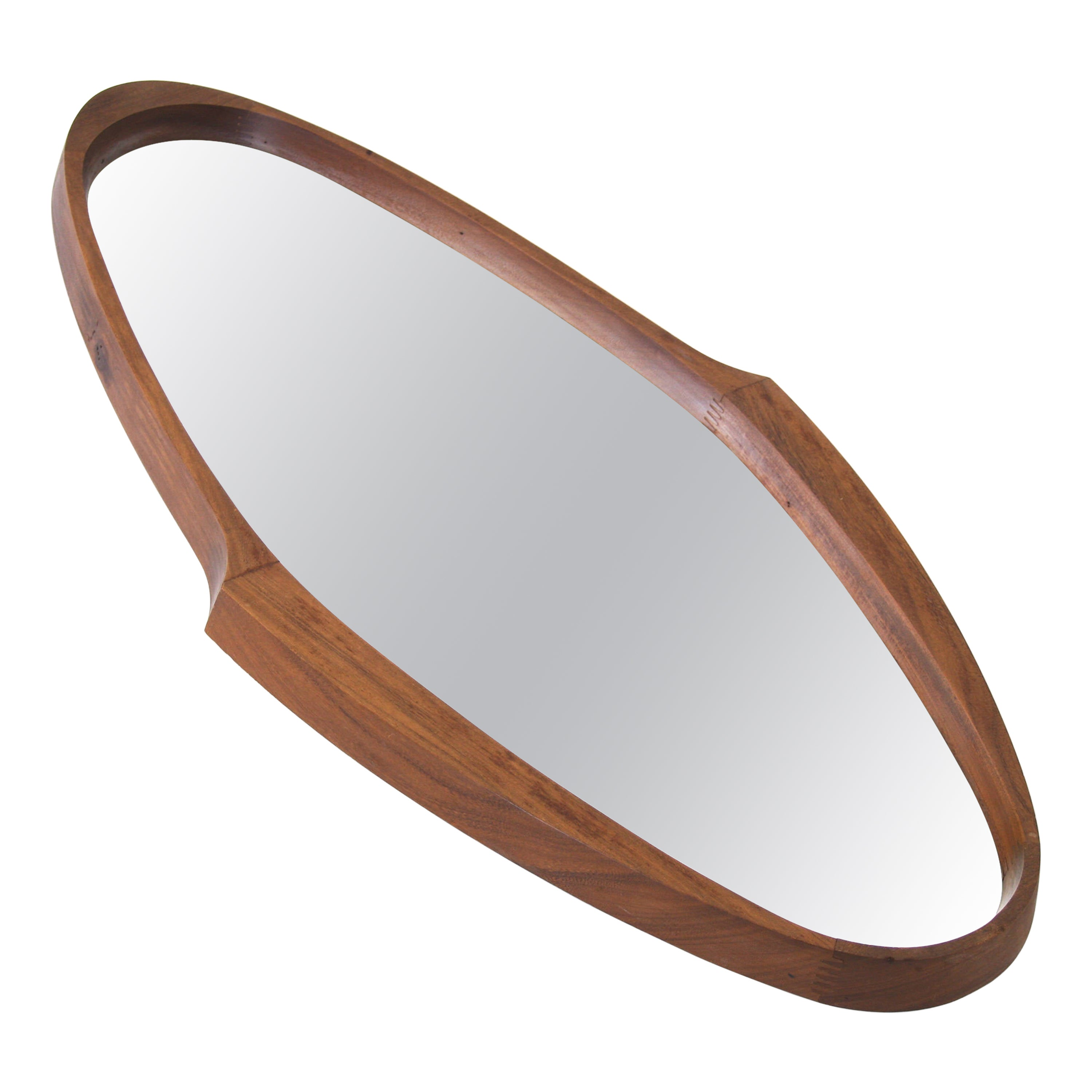 Mirror with Oval Wooden Frame of Mahogany Manufactured in Italy, 1950s