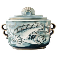 """""""Perch & Angelfish,"""" Unique, Ambitious Art Deco Covered Urn by Nylund, Rorstrand"""