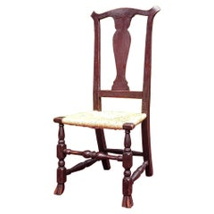 Connecticut Maple Rush Seat Side Chair in Old Red Surface, Circa 1770