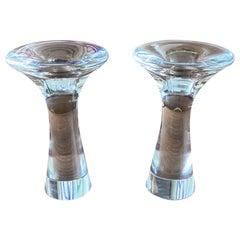 Set of Vintage Candleholders by Tapio Wirkkala Glass Iittala