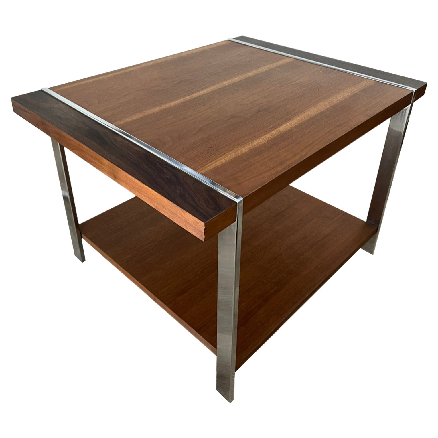 Walnut and Chrome Side Table by Lane Furniture