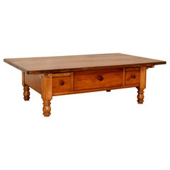 18th Century Swiss Cherry Coffee Table with Three Drawers