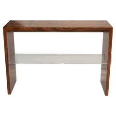 Walnut or Rosewood Console with Lucite Stretcher Detail
