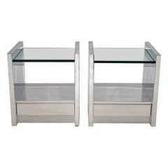 Pair of Polished Steel Nightstands or End Tables Karl Springer 1980s