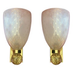 Luxurious Pair of Wall Lamps by Barovier & Toso, Murano, 1960s