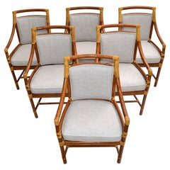 McGuire Mid-Century Modern Bamboo & Cane Armchair Dining Chair Leather, Set 6