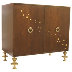 Walnut and Bronze Bar Cabinet with Hand-Sculpted Bronze Handles and Legs