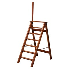 Mid-19th Century French Carved Oak and Iron Seven-Step Folding Library Ladder